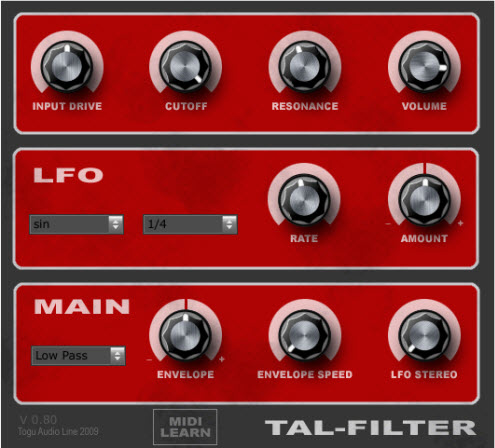 Togu Audio Line - TAL - Filter v.0.8
